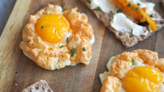 Egg cloud with parmesan cheese, chives and chilli oil